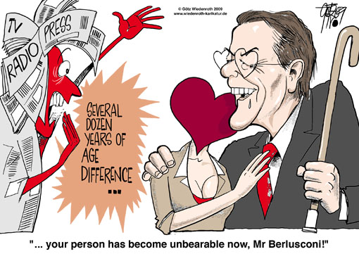 SPD, social democrats party, chairman, germany, Franz Muentefering, Michelle Schumann, private life, politicians, Silvio Berlusconi, Italy, prime minister, caricature, cartoon, age difference, unbearable, media, coverage, Noemi Letizia