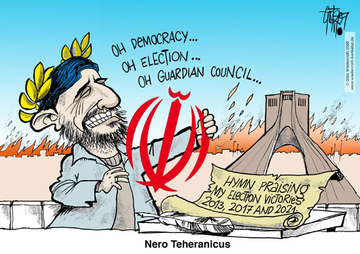 elections, Iran, Mahmoud Ahmadinedjad, Mir Hussein Mousavi, riots, brutality, violence, suppression, freedom of speech, Nero, flames, Bassidji, militia, Teheran, laurel wreath, election victory, guardian council, candidates, nomination, arbitrariness, dictatorship, lyrics