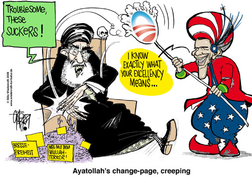 USA, United States,Barack Obama, Rahm Emanuel, chief of staff, president, Teheran, elections, Iran, mass protests, violence, suppression, demonstration, Mullah, regime, caricature, cartoon, Ali Chamenei, kill a fly