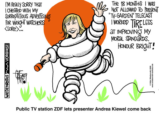ZDF, Public tv station, GEZ, charge fees, surreptitious advertising, weight watchers, Andrea Kiewel, lie, deny, disavow, mutual trust, Markus Schaechter, re-entry, decency period