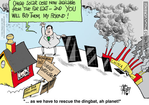 Solar cell, climate protection, climate fault, human influence, China, carbon emission, coal-fired power plant, air pollution, federal minister, environment, Sigmar Gabriel, chimneys, smoking, Germany, cartoon, caricature, Cost increase, cap and trade
