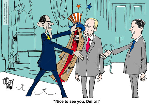 Barack Hussein Obama, BHO, US-president, Wladimir Putin, Russia, Minister president, Dmitrij Medwedjew, Russian president, Moscow, visit, strategic arms reduction, nuclear weapons, insult, disesteem, hat-stand, kremlin, handshake, diplomacy, mistake, birth certificate, natural born citizen, caricature, cartoon, coat