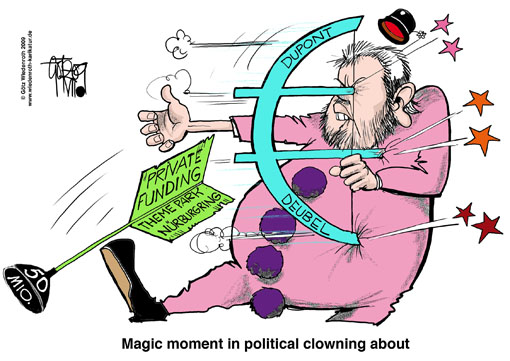 Kurt Beck, Ministerpraesident, Rhineland-Palatinate, Nuerburgring, theme park, financing, funding, privat, Investor, Dupont, hoax, false report, Deubel, finance minister, resignation, Germany, cartoon, caricature, bow, arrow, clown, mishap