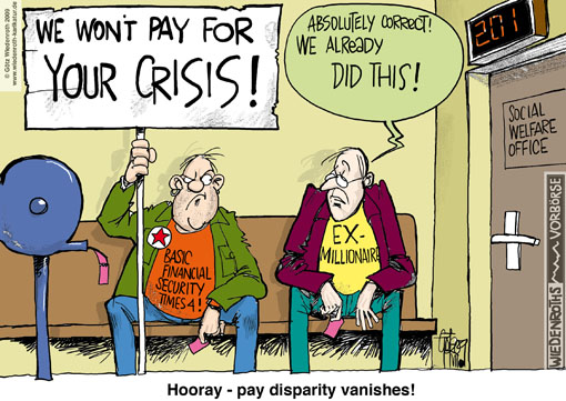 Pay disparity, income development, social status, middle class, crisis, recession, millionaire, social welfare office, losses, financial crisis, economic crisis, germany, cartoon, caricature, economic cycle