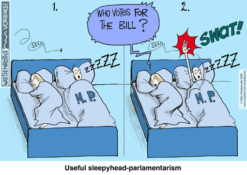 parlamentarism, members of parliament, competence, reading, law, bill, vote, whip, peer pressure, bedroom, midge, fly, buzzing, snoring, swat, raise, hand, by show of hands, Lisbon, treaty, European Union, summer recess, pushing through, rubberstamp, nodding through, Germany, cartoon, caricature