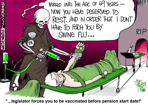 Health, swine flu, bird flu. virus, panic, fear, propaganda, vaccination, get the shot, death, pilgrim, shell, vaccination damage, old age pension, 69, start date, evening of life, eugenics, Pharma, industry, profits, Germany, caricature, cartoon