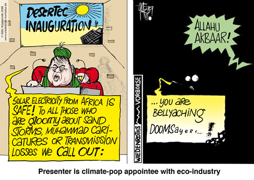 Desertec, solar energy, desert, Africa, supply, Europe, Sigmar Gabriel, Mohammed-caricature, Instability, extortion, potential, transmission losses, long-distance line, eco-industry, Germany, caricature, cartoon
