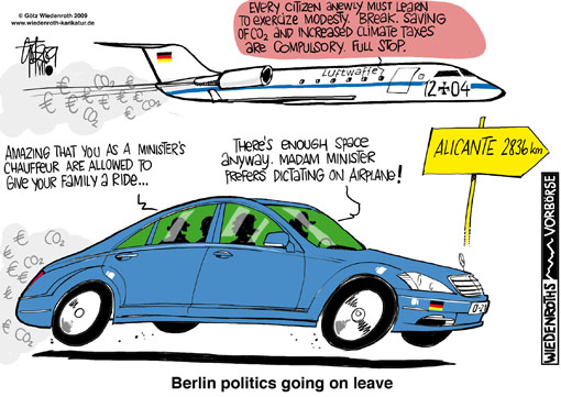Ulla Schmidt, health care, minister, leave, official car, theft, driver, family, airplane travel, additional, waste, tax money, climate protection, hypocrisy, Alicante, official appointment, rental car, contradictions, white lie, Challenger, Luftwaffe, VIP unit, squadron, summer recess, carbon reduction, greenhouse effect, Germany, caricature, cartoon