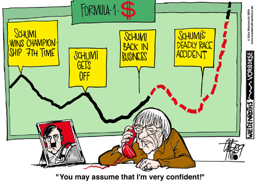 Formula one, car race, Bernie Ecclestone, Marketing, range of power, Adolf Hitler, assertiveness, authority, The Times, Interview, Michael Schumacher, Comeback, Germany, caricature, cartoon