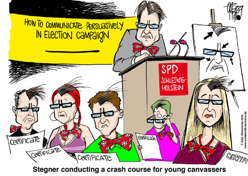 Election, campaign, Schleswig-Holstein, Kiel, SPD, Ralf Stegner, canvasser, glasses, communication, persuasive, certificate, bow tie, speech, course, crash, Germany, caricature, cartoon