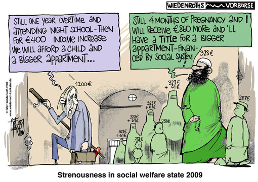 welfare aid, Hartz IV, multiculturalism, immigration, cheat, income, controlling, number of children, child allowance, demography, economic refugees, polygamy, marriage law, Family, unification, for, refugees, or, for, migrants, Islam, education, competitiveness, shadow economy, Germany, caricature, cartoon