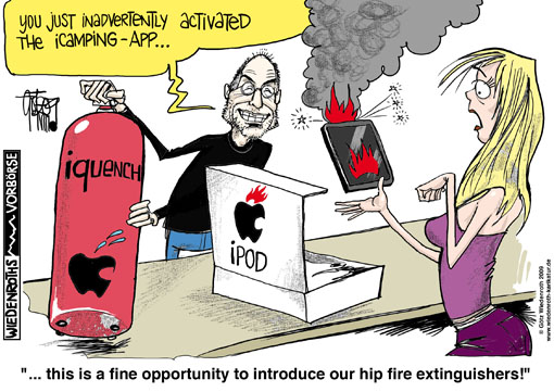Apple, iphone, ipod, brands, blazes, burnings, danger, Lithium-Ion-Accu, charge, burn, spark, flames, heat, burns, skin, Consumer Product Safety Commission, investigation, hush-money, Steve Jobs, CEO, fire extinguisher, Germany, caricature, cartoon