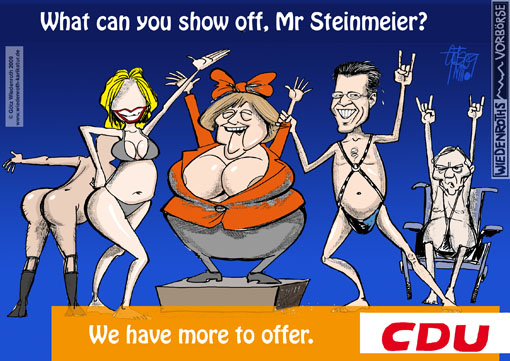 Democracy, elections, advertising, parketing, propaganda, bill, poster, Angela Merkel, Karl Theodor, Guttenberg, Ursula, Leyen, Wolfgang, Schaeuble, Minister, federal chancellor, Lengsfeld, Vera, Dekollete, nudity, dumbing-down, stultification, stupefaction, contents, emptiness, insubstantiality, instinct, emotion, controlling, breasts, politics, bosom, tits, sex, Impulse, attractivity, body, Germany, caricature, cartoon