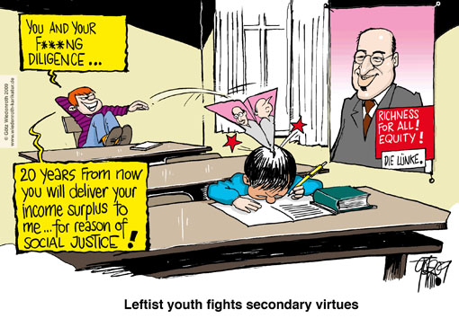 Linkspartei, justice, election poster, richness, redistribution, incentive, diligence, commodity, participation, Gregor Gysi, Oskar Lafontaine, Bodo Ramelow, classroom, school, desk, paper dart, paper airplane, education, Germany, caricature, cartoon