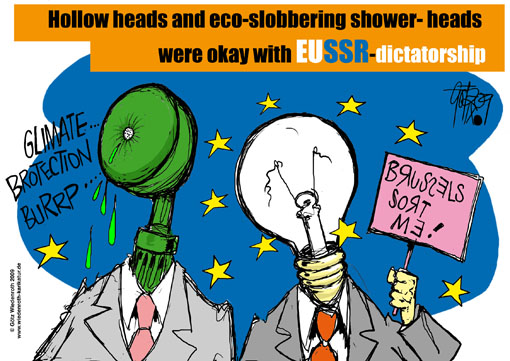 Europa, European Union, commission, Brussels, light bulb, ban, climate, climate protection, CO2, saving, shower head, regulation, water consumption, SPD, poster, campaign, election, european parliament, 2009, Germany, Wiedenroth, caricature, cartoon