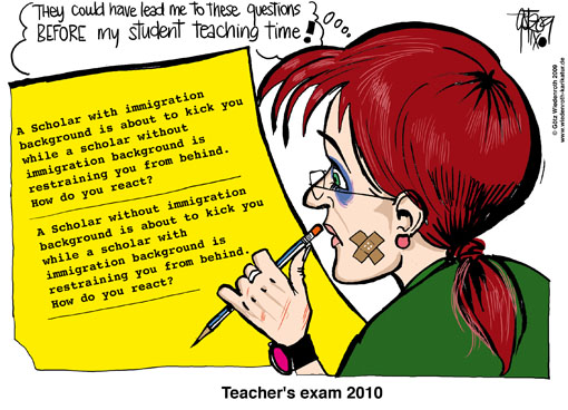 school, education, teacher, violence, manners, morale, culture, multiculturalism, Immigration, Islam, repeat offender, school expulsion, discipline, apprenticeship, teaching post, student teaching, trauma, absenteeism, Germany, Wiedenroth, caricature, cartoon