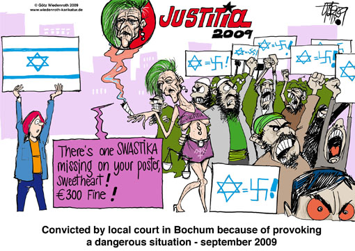 Islam, Israel, jews, hatred, Antisemitism, judiciary, police, sentence, local court, Bochum, aggression, violence, threat, recede, appeasement, government, dhimmitude, Germany, Wiedenroth, caricature, cartoon