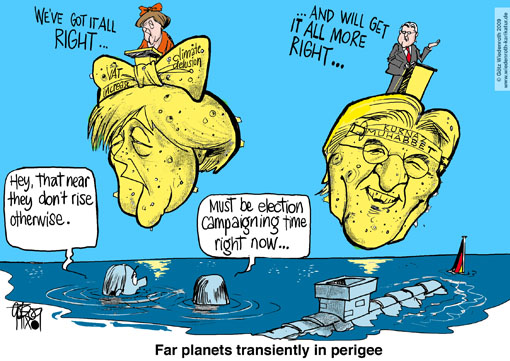 Angela, Merkel, Frank-Walter, Steinmeier, SPD, Union, grand, coalition, election, campaign, TV-Debate, planets, flood, water, neck, crisis, Problem, Distance, Wiedenroth, Karikatur, Germany, Wiedenroth, caricature, cartoon