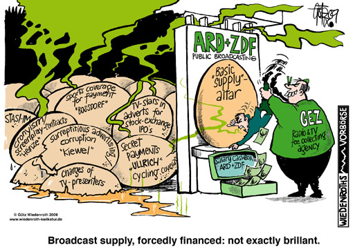 broadcast, TV, television, public, GEZ, fee collecting agency, fees, corruption, cronyism, basic supply, presenter, charges, surreptitious, advertising, Kiewel, Andrea, Heinze, Doris, advertising, Bossdorf, Sport, coverage, payment, salary, cashbox, Wiedenroth, Germany, caricature, cartoon