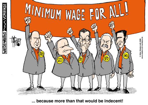 minimum wage, election, manifesto, DVU, Faust, NPD, Voigt, Gruene, Oezdemir, SPD, Muentefering, Linkspartei, Die Linke, PDS, SED, Lafontaine, Wiedenroth, Germany, caricature, cartoon