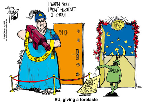 Europa, Lisbon, treaty, vote, Ireland, Irish people, democracy, appreciation, repetition, reiteration, first vote, second vote, Germany, Wiedenroth, caricature, cartoon