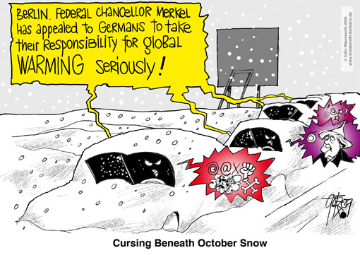 climate, catastrophy, disaster, global warming, greenhouse effekt, CO2, climate, change, panik, swindle, propaganda, fear, Al Gore, jam, Winter, snow, cooling, Angela Merkel, federal chancellor, Germany, Wiedenroth, caricature, cartoon