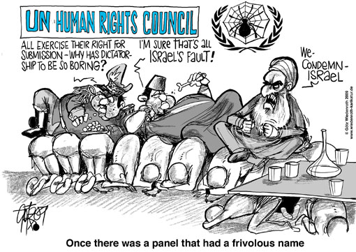 middle east, conflict, Israel, Palestine, Gaza, war, UNO, human, rights, council, denunciation, Israel, partisanship, Wiedenroth, caricature, cartoon