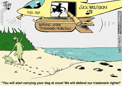 Jack, Wolfskin, outdoor, clothing, equipment, producer, trademark, protection, law, warning, letter, Dawanda, paw, Wolf, imprint, legal, protection, cost, attorney, opinion, expertise, Wiedenroth, Germany, caricature, cartoon