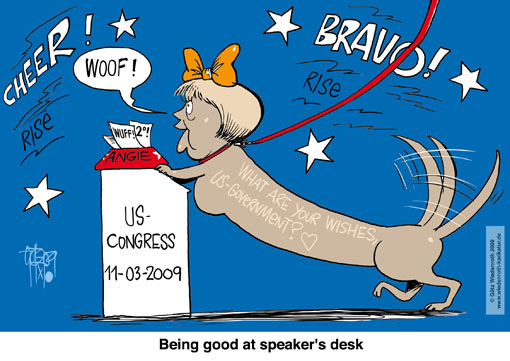Merkel, USA, Washington, speech, congress, Senate, house, climate. protection, history, reunifcation, sausage dog, poodle, Wiedenroth, caricature, cartoon