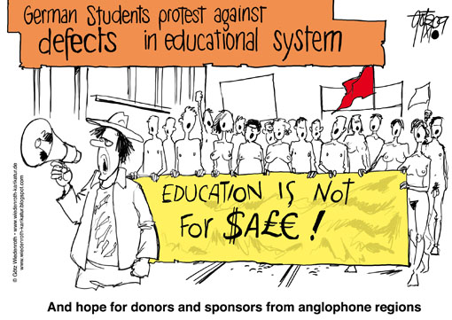 education, higher, school, university, knowledge, funding, Bachelor, strike, Bologna, students, Process, Europe, Master, degree, lack, defect, sponsor, donor, misery, tax money, conditions, study, performance, level, Wiedenroth, Germany, caricature, cartoon