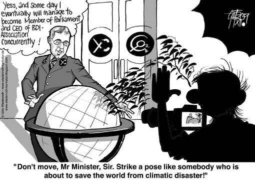 Globe, climate, protection, environment, federal minister, Norbert Roettgen, BDI, CEO, Charlie Chaplin, Pose, PR, photo, Shooting, Hockey stick, Michael Mann, CRU, Klimagate, CO2, dictatorship, energy prices, Wiedenroth, Germany, caricature, cartoon