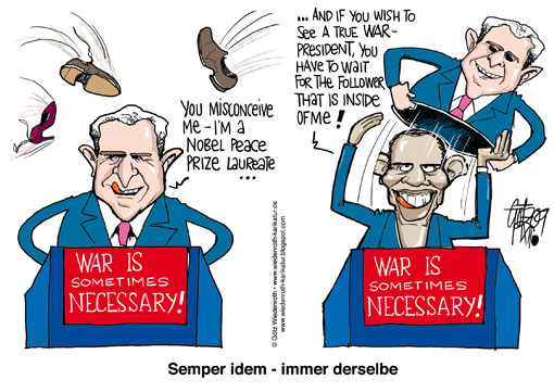 USA, Barack Obama, President, Peace Nobel Prize, Oslo, speech, accordance, George W. Bush, predecessor, war, necessary, violence, lectern, speaker's desk, Matryoshka, Puppet, Shoe, throw, continuity, Wiedenroth, Germany, caricature, cartoon