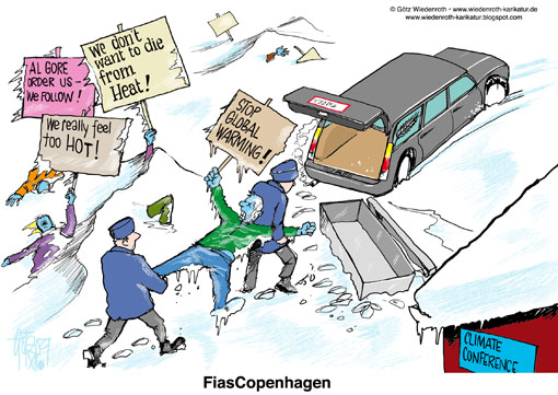 Copenhagen, summit, propaganda, marketing, trick, hoax, delusion, deception, sea level, rise, Globe, climate, protection, environment, greenhouse, gases, effect, Hockey stick, Michael Mann, CRU, climategate, CO2, dictatorship, energy prices, protesters, demonstrators, freeze to death,  hearse, global, warming, Wiedenroth, Germany, caricature, cartoon