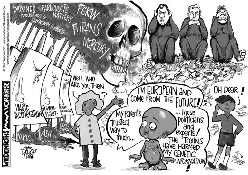 waste, incineration, power plant, environment, dangers, intoxication, FCKW, Furans, Toxic, ash, leftovers, particulate matters, Dioxines, Filter, Filtrate, Filter cake, dumpsite, genetic, information, quicksilver, mercury, monster, malformation, Wiedenroth, Germany, caricature, cartoon