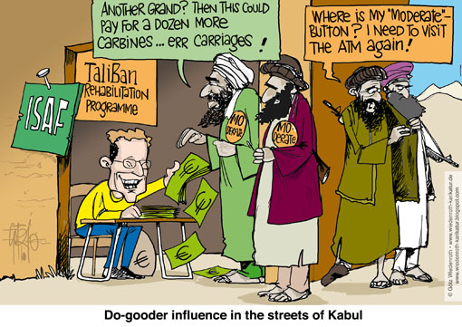 Afghanistan, conference, Fund, Taliban, drop-out, Guido Westerwelle, foreign minister, pay-out, ISAF, Bundeswehr, education, training, Police, Army, Wiedenroth, Germany, caricature, cartoon
