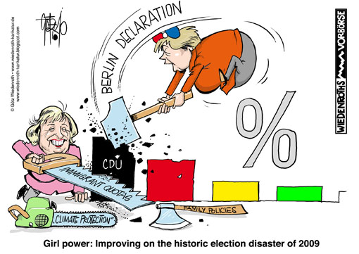 Merkel, Angela, Boehmer, Maria, CDU, Union, vote catching, updating, modernisation, Profile, soft, outline, fuzzy, diffuse, Berlin, declaration, immigrant, quota, election, result, 2009, , Disaster, decline, votes, percentage, climate, protection, family, policy, Wiedenroth, Karikatur, cartoon, Wiedenroth, Germany, caricature, cartoon