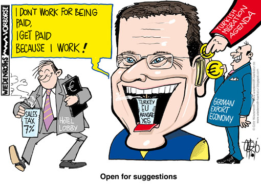 Westerwelle, FDP, chairman, foreign minister, Turkey, EU. mandate, german, export, economy, turkish, migration, agenda, hotel, lobby, sales tax, reduced, Wiedenroth, Germany, caricature, cartoon