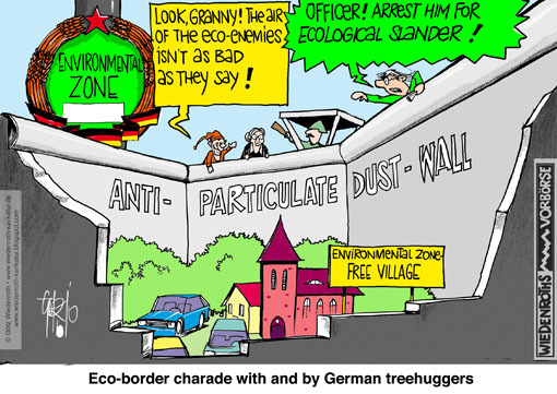 environmental, zone, respirable, particulate, dust, pollution, badge, Chaos, antifascist, protective barrier, wall, zone, border, ecologism, eco-fascism, eco-stalinism, Mainstreaming, environment, protection, puppet theatre, Wiedenroth, Germany, caricature, cartoon