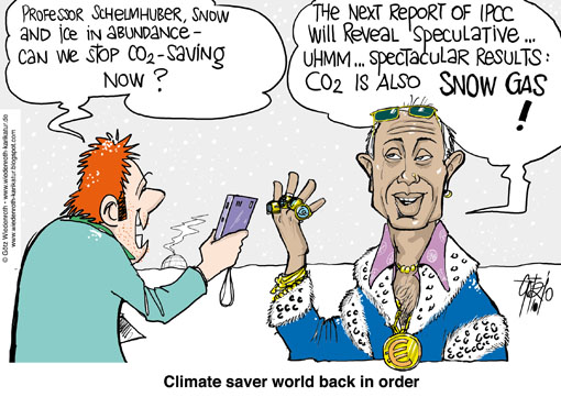 climate, change, protection, IPCC, Climategate, PIK, Potsdam, Institute, swindle, Schellnhuber, Rahmstorf, ice age, snow, ice, CO2, greenhouse, gase, global warming, effect, Kyoto, Kopenhagen, Rajendra Pachauri, Al Gore, Wiedenroth, Germany, caricature, cartoon