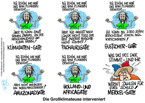 Klima, Klimawandel, Rajendra Pachauri, IPCC, Weltklimarat, Angela Merkel, Bundeskanzlerin, Africagate, Hollandgate, Pachaurigate, Climategate, Glaciergate, Sachstandsbericht, Synthesis Report, Wissenschaft, Fehler, Schlamperei, Manipulation, Korruption, Wiedenroth, Karikatur, cartoon
