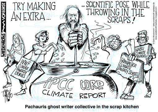 IPCC, Pachauri, glaciergate, Greenpeace, Climategate, Norwich, Lobby, lobbyism, eco, solar industry, wind power, Wiedenroth, Germany, caricature, cartoon