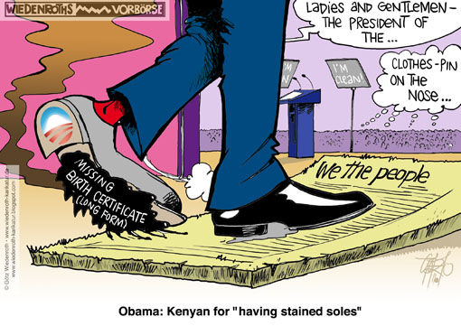 USA, Obama, birth certificate, long form, birther, shoe, stained, soles, constitution, we the people, doormat, teleprompter, legitimacy, Wiedenroth, Germany, caricature, cartoon