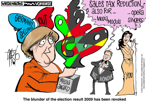 Merkel, federal chancellor, Netrebko, opera singer, Laudatio, media award, selling out, Lobbyism, Koegel, Media Control, media mogul, sales tax, reduction, Wiedenroth, Germany, caricature, cartoon