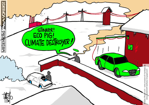 car, individual, traffic, electricity, propulsion, Hybrid, climate protection, Global warming, greenhouse, gases, CO2, environment, eco, system, Morale, exhaust, Stinker, snow, Winter, cold, power plant, chimney, smoke, wire, recharging, electric motor, Wiedenroth, Germany, caricature, cartoon