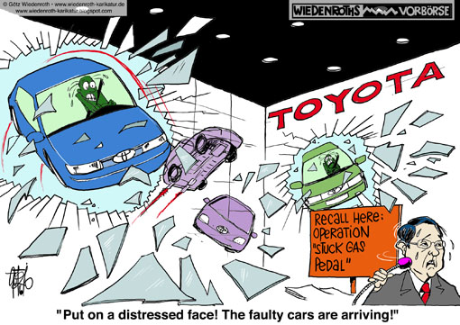 Toyota, callback, Gas, pedal, stuck, full, throttle, brakes, power train, mortal, danger, casualties, USA, congress, Washington, hearing, Akio Toyoda, repair, garage, car repair shop, bricolage, mistake, confidence, loss, Wiedenroth, Germany, caricature, cartoon