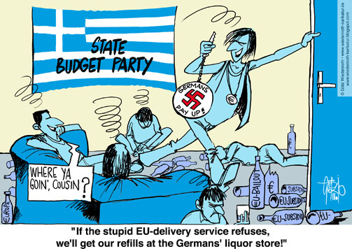 Europe, Greece, budget, emergency, waste, corruption, authority, civil, service, post, Reparation, claim, Germany, Party, cronyism, Wiedenroth, Germany, caricature, cartoon