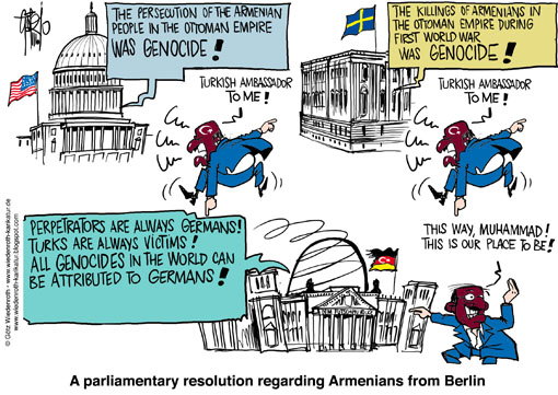 Turkey, Armenia, Resolution, Washington, Stockholm, Parlament, ambassador, calling back, Ankara, outrage, Protest, threat, Erdogan, Capitol, Kapitol, Riksdag, Reichstag, Berlin, genocide, Wiedenroth, Germany, caricature, cartoon
