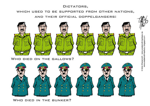 Saddam Hussein, Adolf Hitler, Dictator, Doppelganger, death, circumstances, history, forgery, Manipulation, research, gallows, shelter, Fuhrerbunker, Wiedenroth, Germany, caricature, cartoon