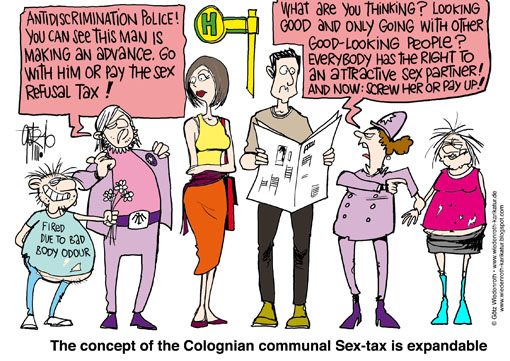 anti, discriminaton, taxation, sex, tax, cologne, prostitution, Wiedenroth, Germany, caricature, cartoon