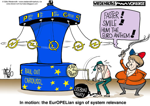 Europe, Greece, bailout, taxpayer, PIIGS, States, Portugal, Italy, Ireland, Greece, Spain, rescue, package, budget, emergency, national, bankruptcy, insolvency, Opel, Systemic, relevant, Wiedenroth, Germany, caricature, cartoon